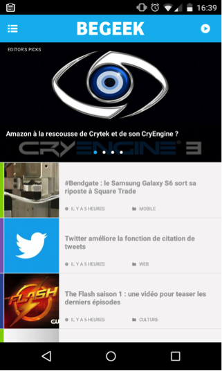 interface de l'appli begeek